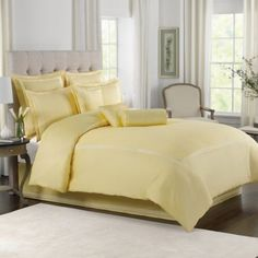 "Wamsutta Baratta Stich Comforter in ""Butter"" (Bed Bath & Beyond) Match it with navy and white"