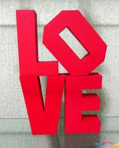 Letras Decorativas 14cm x 8,5cm #ScrapDecor #Love #Letras3D