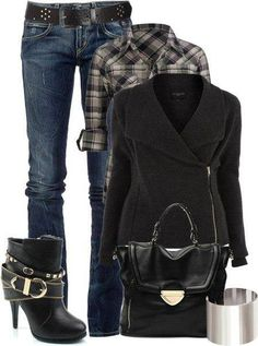 Flannel, coat jeans and boots