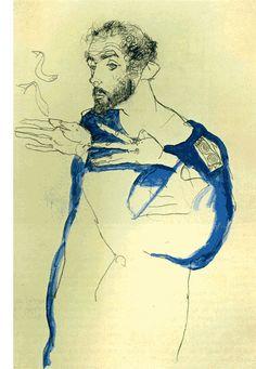 Egon Schiele, Gustav Klimt with blue painter& coat, . Egon Schiele, Gustav Klimt with blue painter& coat, private collection Gustav Klimt, Blue Painting, Painting & Drawing, Portraits, Camille Pissarro, Art Moderne, Art Graphique, Life Drawing, Art Plastique