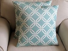 SEAGLASS and WHITE geometric Pillow Covers 18 PAIR by yiayias