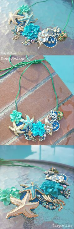 Mauna Lani: Summer and Sea Inspired Necklace made of Vintage Baubles