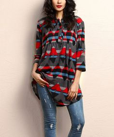 Look what I found on #zulily! Charcoal Southwest Notch Neck Pin Tuck Tunic #zulilyfinds