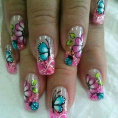 Wow Nails, Cute Nails, Pretty Nails, Pedicure Designs, Nail Art Designs, Spring Nails, Summer Nails, Rainbow Nail Art, Butterfly Nail Art
