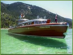 Thunderbird Boat at Tahoe - gorgeous Yacht Design, Wooden Speed Boats, Classic Wooden Boats, Cabin Cruiser, Vintage Boats, Float Your Boat, Naval, Old Boats, Love Boat