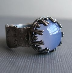 Fine Silver Ring with Chalcedony - Relic by Jane Font