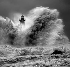 Another Working Day - #lighthouse in a storm - Amazing BW #photography