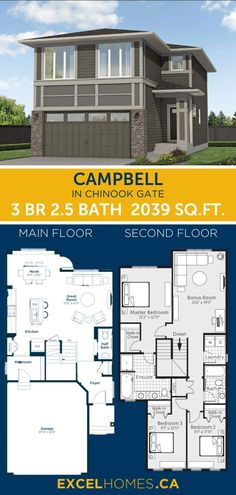 3 bedroom 2.5 bathroom 2,039 SQ.FT home floorplan   virtual tour! View more of this house: Campbell in Chinook Gate | Home design by Excel Homes | Large home floorplan | 3 bed floor plan #homedesign #home #house #homebuilder #houseplans #floorplan