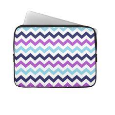 Purple and Blue Zig Zag Chevrons Pattern Laptop Sleeve