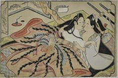 Arqueología e Historia del Sexo: El arte erótico japonés Shunga  Escena lésbica. Sugimura Jihei, 1680