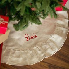 I LOVE this monogrammable farmhouse style ruffled treeskirt!!