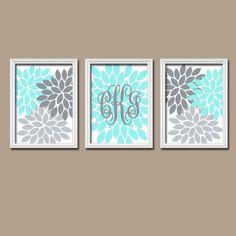 Aqua Grey Custom Cursive Monogram Flower Burst Letter Initial Set of 3 Prints WALL ART Decor Abstract Bedroom Girl NURSERY Crib Baby on Etsy, $28.00