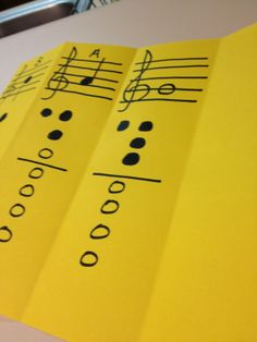 MelodySoup blog: Recorder fingering chart foldable - This could easily transfer to band and orchestra.