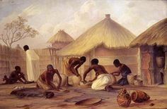 Manufacture of Sugar at Katipon and Making Pots to Contain It   by Thomas Baines