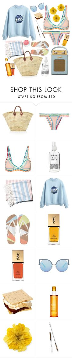 """""""Sea mist"""" by denise-renae ❤ liked on Polyvore featuring kiini, rms beauty, Roberts, Herbivore, Reef, Yves Saint Laurent, Matthew Williamson, Clarins, Gucci and Rolla's"""