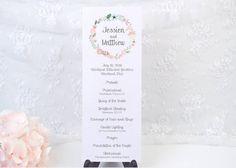 vintage inspired wedding program with botanical wreath header