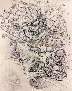 Foodog sketch. #sketch #drawing #illustration #foodog #hannya #asiantattoo #asianink #irezumi #tattoo