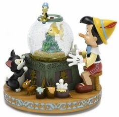 Pinocchio Snow Globe -with Cleo in the bowl. There are several versions of this snowglobe.