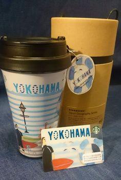F/S New Starbucks Plastic Tumbler & Card set YOKOHAMA limited JAPAN sea surfing #srarbucks