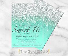 Customizable Mint Green Glitter Ombre Sweet sixteen 16 printable digital file…