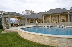 Platinum building stone with Indiana Limestone coping.