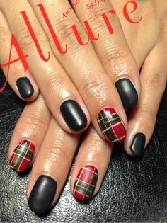 Red plaid and black nail art design