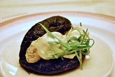 Squid Ink Bao Steamed bun, fried oyster, yuzu kosho aioli