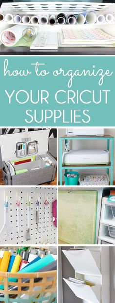 HOW TO ORGANIZE CRICUT SUPPLIES. Organize your Cricut machine and supplies in your craft room or on the go! Organizing solutions for Cricut vinyl, Cricut tools, Cricut cutting mats scrapbook paper, and more.