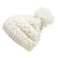 Collection XIIX Crochet Pompom Beanie ($17) ❤ liked on Polyvore featuring accessories, hats, polar white, thick knit beanie, pom pom beanie, crochet beanie hat, beanie cap hat and beanie hats