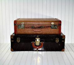 Vintage Stack of Suitcases / Vintage Suitcase by HuntandFound, $98.00
