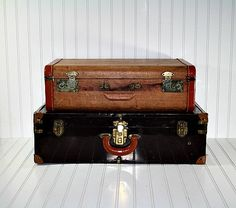 Vintage Stack of Suitcases / Vintage Suitcase by HuntandFound, $98.00