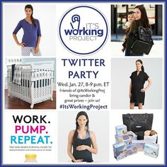 TONIGHT - @itsworkingproj is thrilled to invite you to attend our upcoming Twitter Party on Wednesday January 27th from 8  9 p.m. ET (5  6 p.m. PT.) Please join us in a candid conversation about the challenges and victories of back to work after baby using the hashtag #ItsWorkingProject.  Follow us your hosts @ITSWORKINGPROJ and @THEJULIABECK on Twitter as well as our amazing co-panelists @GLAMAMOM @JESSICAMCFADD @LETMOMMYSLEEP @STROLLERINCITY @THEMAMAMAVEN and @VERASWEENEY.