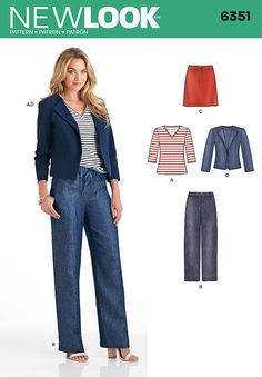 New Look 6351 Misses' Jacket, Pants, Skirt and Knit Top.  Misses' separates pattern includes 3/4 sleeve knit V-neck top, jacket, and pull-on pants and skirt with drawstring waist.