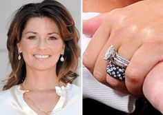 Shania Twain princess cut with east west set and wedding bands. Celebrity Rings, Celebrity Wedding Photos, Celebrity Engagement Rings, Celebrity Weddings, Victoria Beckham Wedding, Types Of Lace, Engagement Celebration, Bridal Lace, Beautiful Rings