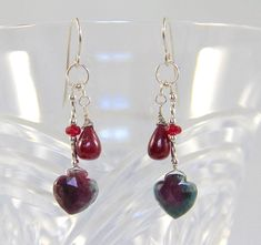 Ruby Zoisite, Anyolite, Dangle Earrings, Ruby Drops, Sterling Silver Wire Wrapped, Handmade Gemstone Bead Jewelry, July Birthstone,Red Green by AdornmentsAndFrills on Etsy