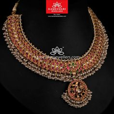 Buy Necklaces Online | Royal Highness! from Kameswari Jewellers Ruby Jewelry, Wedding Jewelry, Gold Jewelry, Gold Necklace, Short Necklace, Bridal Jewellery Inspiration, Indian Jewelry Sets, Necklace Online, Stylish Jewelry