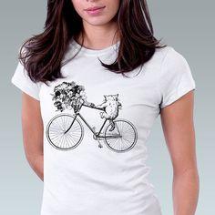 Cat Shirt Kitty Cat Kitten Bike Bicycle Flower by catssecret, $25.00