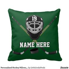 Customizable Hockey Pillows, with Your Team COLORS and Your NAME and Jersey NUMBER or your text or delete. CLICK: http://www.zazzle.com/personalized_hockey_pillows_your_colors_and_text_throw_pillows-189684312428882115?rf=238147997806552929 Change the green and white hockey team gifts COLORS. More Personalized HOCKEY Gifts HERE: http://www.zazzle.com/littlelindapinda/gifts?cg=196351634751800801&rf=238147997806552929  CALL Linda to create hockey room decor: CALL 239-949-9090