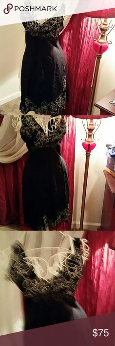 Bebe dress med euc With lace  middle  length 35 bust 38 w24 hip 38  100 rayon zip side bebe Dresses Mini