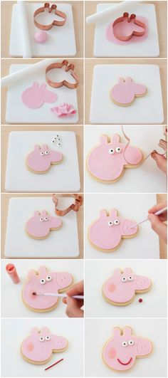 Hoy os traigo el tutorial de las galletas de Peppa Pig que hice para la fiesta d… Today I bring you the tutorial of the Peppa Pig cookies that I made for the aforementioned party but then, as I told you, I forgot … Tortas Peppa Pig, Bolo Da Peppa Pig, Peppa Pig Cookie, Peppa Pig Birthday Cake, Peppa Pig Cupcake, Peppa Pig Cakes, Pig Cupcakes, Pig Cookies, 3rd Birthday Parties
