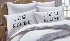 I AM NERDY Couples Gift Pillowcase Set his hers by RKGracePrints