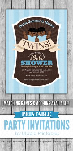 A printable Afrocentric twins baby shower invitation in blue and brown. Great for a baby shower for twin boys. Cute ethnic digital party invite template with a unique design to fit your shower idea, style or theme. This customized announcement card will be personalized with your custom text. Colors can be changed upon request. DIY file that you can download and print at home.