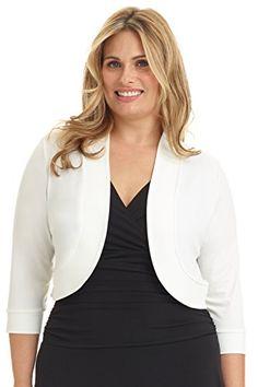 Rekucci Women's Curvy Fit Plus Size Rounded Hem Stretch Bolero Shrug