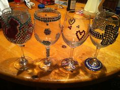 Dollar store craft for ladies night! Dollar wine glasses blinged with dollar store gems