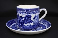 Adderleys Ltd, Daisy Bank Pottery (renamed Gainsborough Works) Longton, Staffordshire.  Vintage blue and white 'Old Willow' pattern coffee cup and saucer c 1929