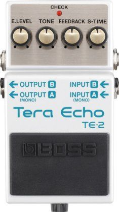 Boss TE-2 Tera Echo Pedal: Tear it up with the TE-2 Tera Echo. This next-gen Boss compact pedal delivers deep, expansive echo, with a Freeze function to hold the current effect sound.