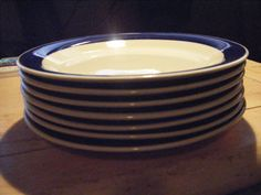 """Lot 7pc-GIBSON BLUE RIM  BREAD & BUTTER PLATES 7"""" EVERYDAY WHITE B&B CHINA #Gibson"""