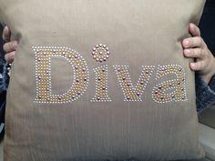 Diva bling throw pillow 12x12 size