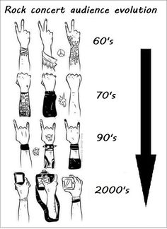 rock concert audience evolution  LOL I'm totally stuck in the 90's, I couldn't waist my time looking through a lens at a show ;)