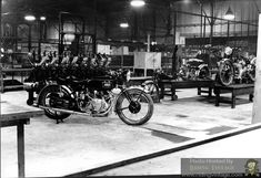 Riding Vintage article on the Vincent Motorcycle Factory at Stevenage, England. Photos are circa 1947 - British Motorcycles, Old Motorcycles, Vincent Black Shadow, Vincent Motorcycle, Stevenage, Motorcycle Posters, Cycling Bikes, Motorbikes, Past